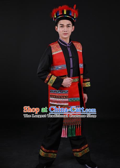 Chinese Traditional Yao Nationality Festival Black Outfits Ethnic Minority Folk Dance Stage Show Costume for Men