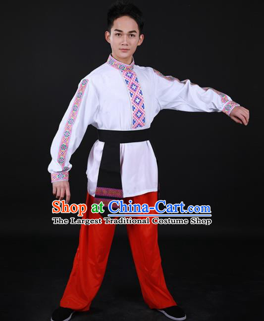 Chinese Traditional Nationality Festival Outfits Ethnic Minority Folk Dance Stage Show Costume for Men