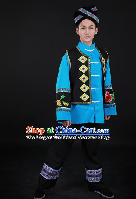 Chinese Traditional Mulao Nationality Festival Outfits Ethnic Minority Folk Dance Stage Show Costume for Men