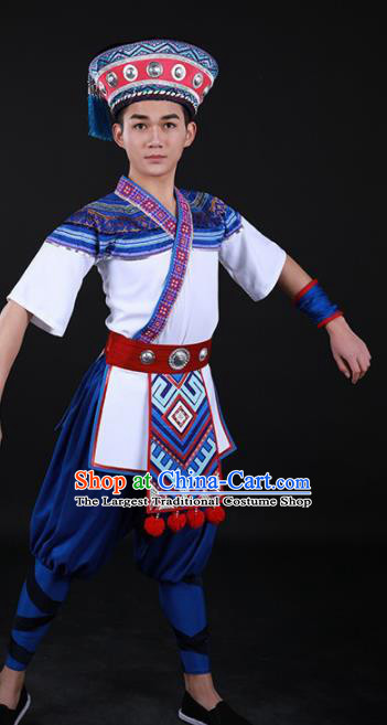 Chinese Traditional Yao Nationality Festival Outfits Ethnic Minority Folk Dance Stage Show Costume for Men