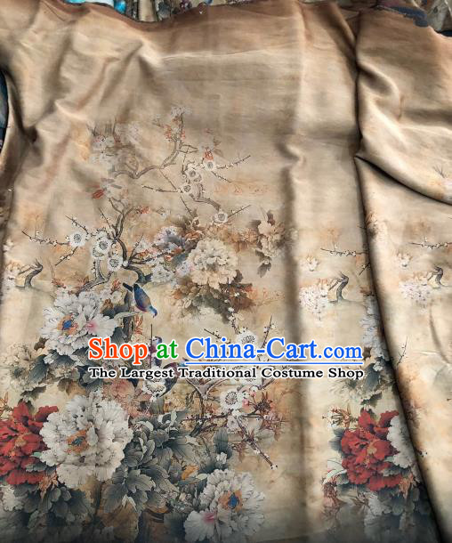 Asian Chinese Traditional Peony Pattern Design Beige Gambiered Guangdong Gauze Fabric Silk Material