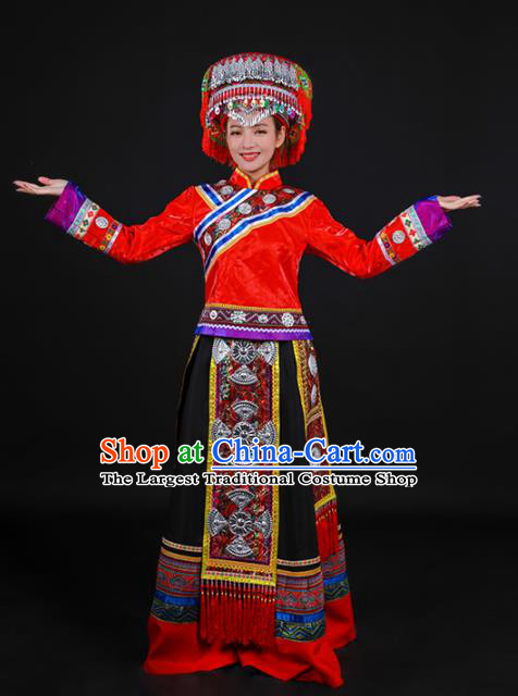 Chinese Traditional Achang Nationality Red Dress Ethnic Folk Dance Stage Show Costume for Women