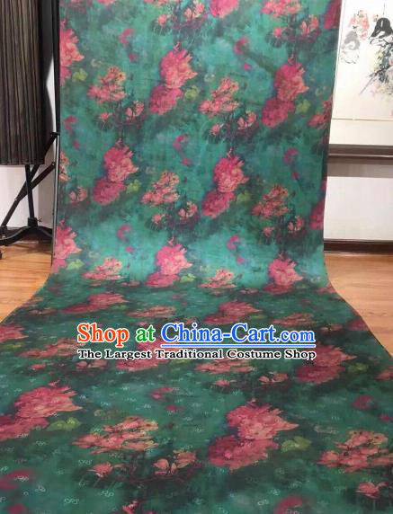 Asian Chinese Traditional Magnolia Pattern Design Green Gambiered Guangdong Gauze Fabric Silk Material