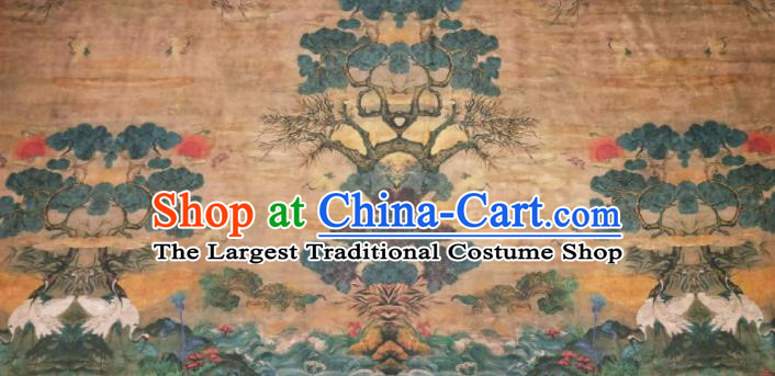 Asian Chinese Traditional Wave Crane Pattern Design Ginger Gambiered Guangdong Gauze Fabric Silk Material