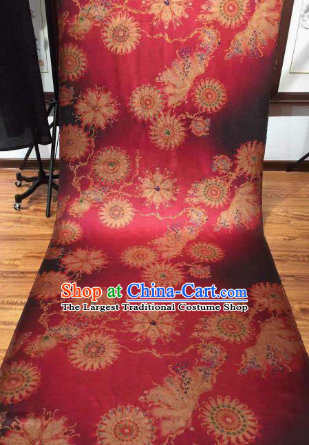 Asian Chinese Traditional Wheels Pattern Design Rosy Gambiered Guangdong Gauze Fabric Silk Material