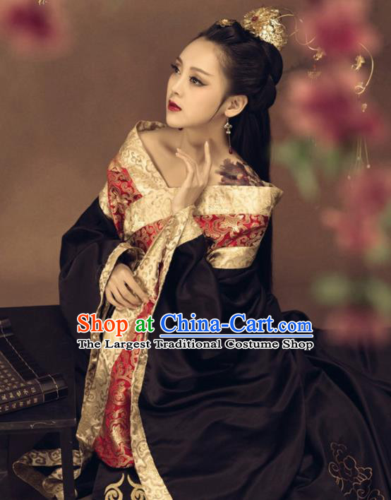 Chinese Ancient Imperial Consort Black Hanfu Dress Traditional Han Dynasty Court Queen Costumes for Women