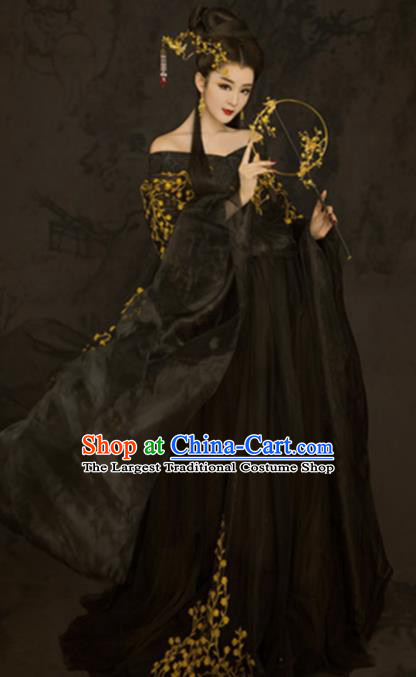 Chinese Ancient Court Princess Black Hanfu Dress Traditional Ming Dynasty Imperial Consort Costumes for Women