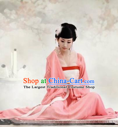 Chinese Ancient Female Scholar Pink Hanfu Dress Traditional Tang Dynasty Court Maid Costumes for Women