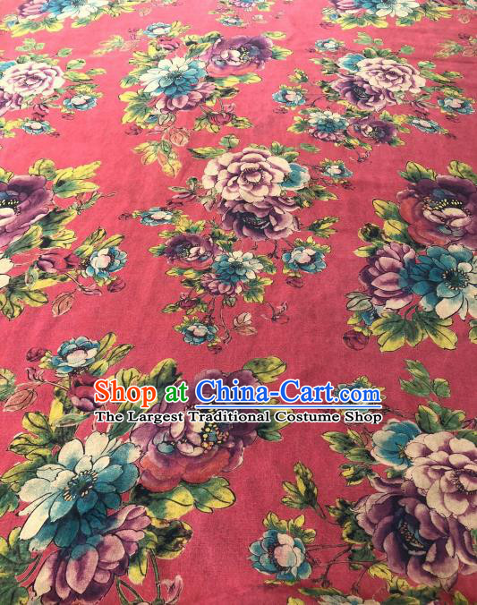 Asian Chinese Classical Peony Pattern Design Red Gambiered Guangdong Gauze Fabric Traditional Silk Material
