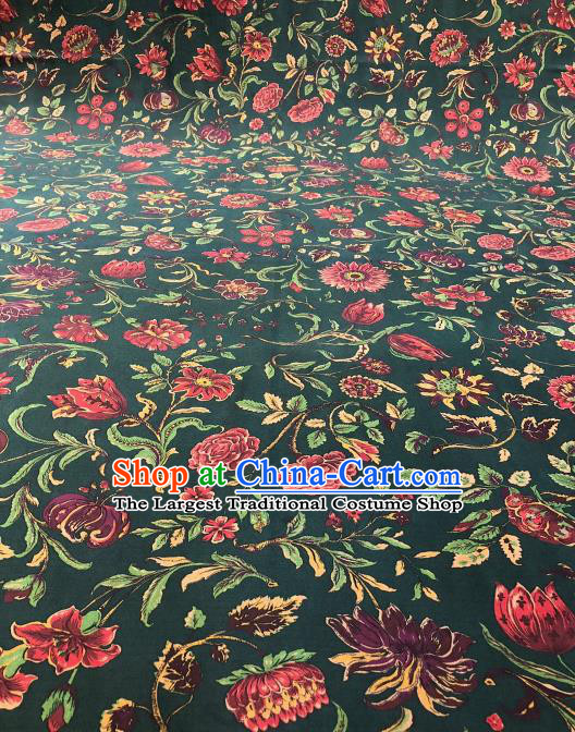 Asian Chinese Classical Flowers Pattern Design Atrovirens Gambiered Guangdong Gauze Fabric Traditional Silk Material