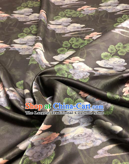 Asian Chinese Classical Cloud Pine Pattern Design Black Gambiered Guangdong Gauze Fabric Traditional Silk Material
