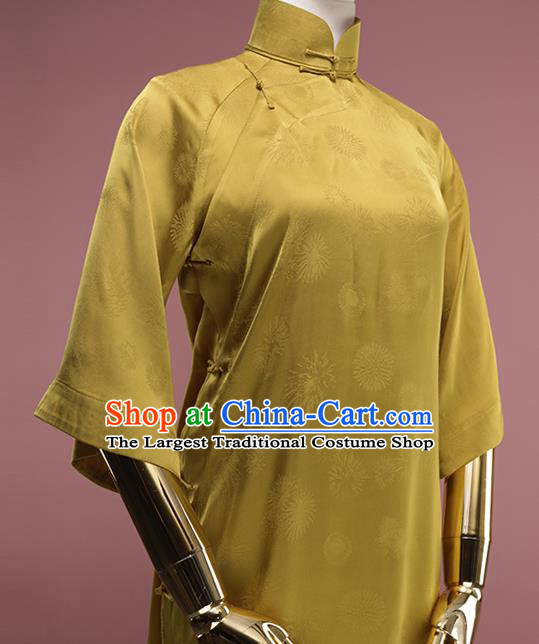 Chinese Traditional Golden Silk Cheongsam Costume Republic of China Mandarin Qipao Dress for Women