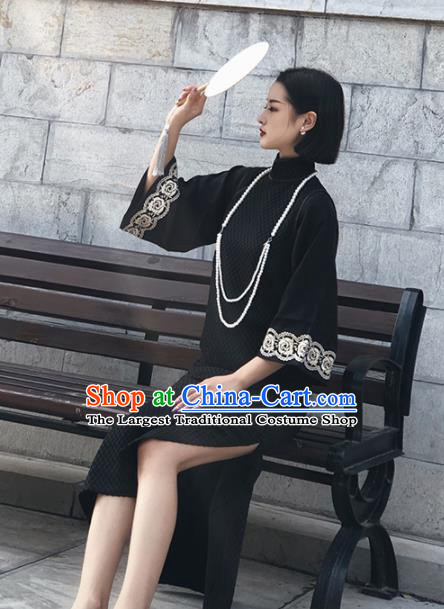 Chinese Traditional Black Silk Cheongsam Costume Republic of China Mandarin Qipao Dress for Women