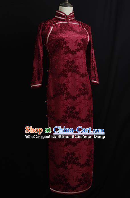 Chinese Traditional Wine Red Velvet Cheongsam Costume Republic of China Mandarin Qipao Dress for Women