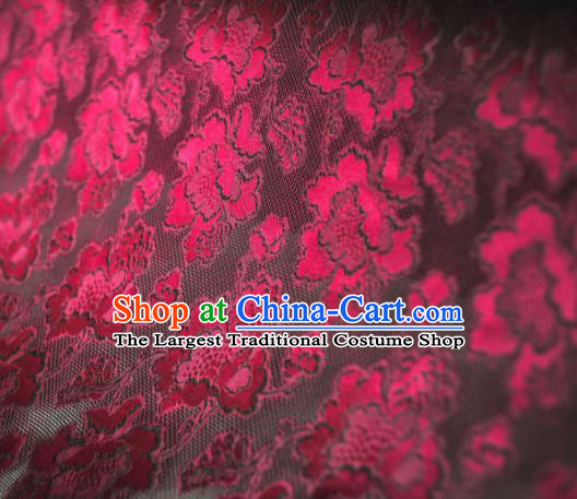 Asian Chinese Traditional Wine Red Roses Pattern Design Gambiered Guangdong Gauze Fabric Silk Material
