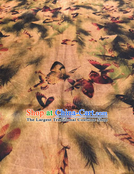 Asian Chinese Traditional Butterfly Pattern Design Ginger Gambiered Guangdong Gauze Fabric Silk Material