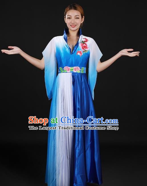 Chinese Spring Festival Gala Opening Dance Blue Dress Traditional Chorus Classical Dance Costume for Women