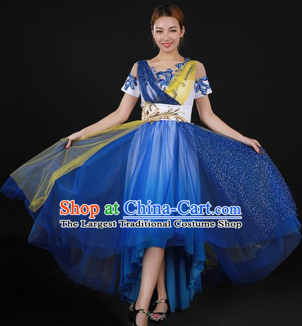 Chinese Spring Festival Gala Modern Dance Blue Dress Traditional Chorus Stage Show Costume for Women