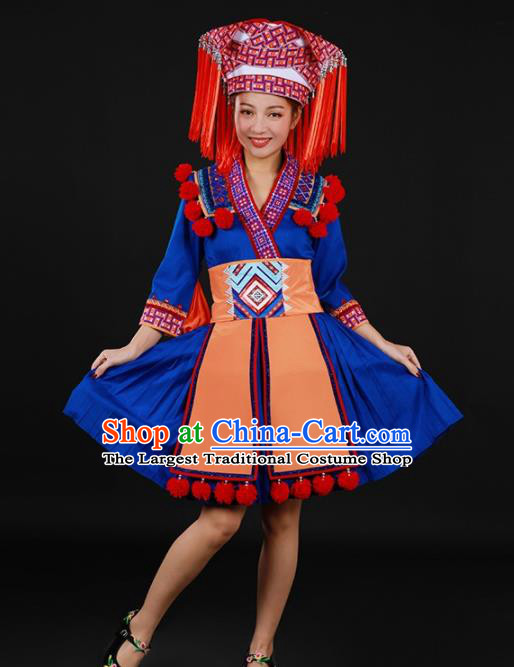 Chinese Traditional Yao Nationality Blue Short Dress Ethnic Minority Folk Dance Stage Show Costume for Women