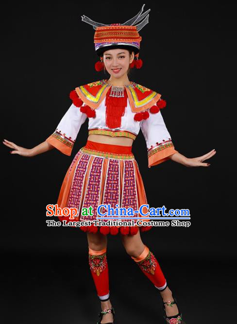 Chinese Traditional Yao Nationality White Blouse and Orange Short Skirt Ethnic Minority Folk Dance Stage Show Costume for Women