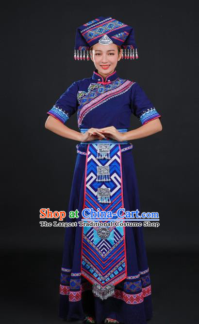Chinese Traditional Zhuang Nationality Navy Long Dress Ethnic Minority Folk Dance Stage Show Costume for Women