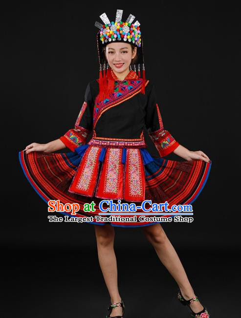 Chinese Traditional Yao Nationality Black Short Dress Ethnic Minority Folk Dance Stage Show Costume for Women