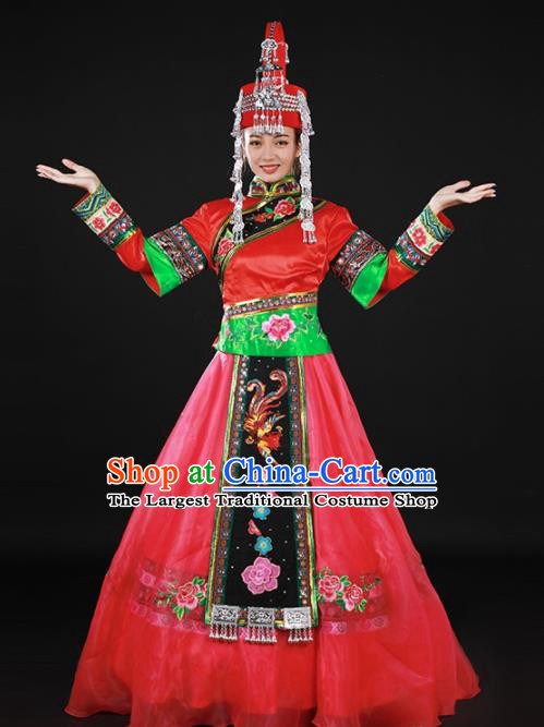 Chinese Traditional She Nationality Rosy Long Dress Ethnic Minority Folk Dance Stage Show Costume for Women