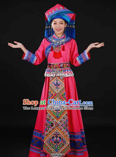 Chinese Traditional Zhuang Nationality Rosy Long Dress Ethnic Minority Folk Dance Stage Show Costume for Women