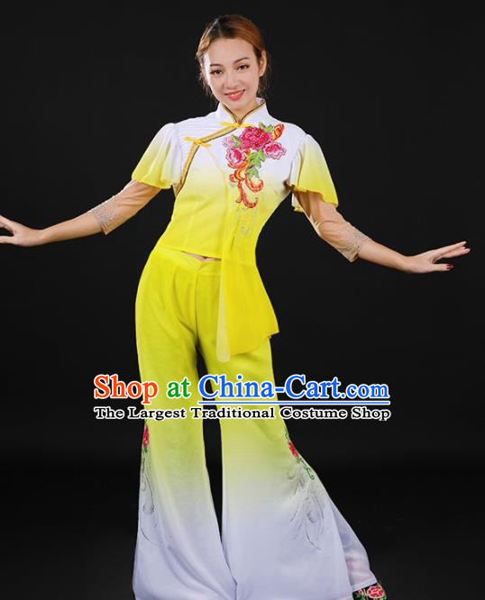 Chinese Spring Festival Gala Folk Dance Yellow Outfits Traditional Fan Dance Costume for Women