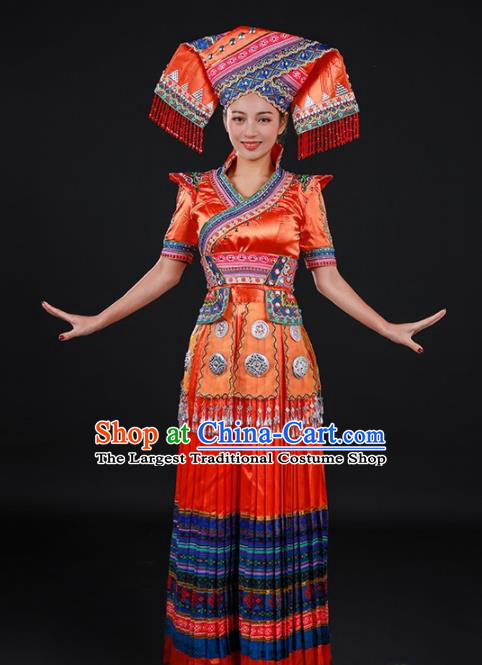 Chinese Traditional Zhuang Nationality Orange Long Dress Ethnic Minority Folk Dance Stage Show Costume for Women