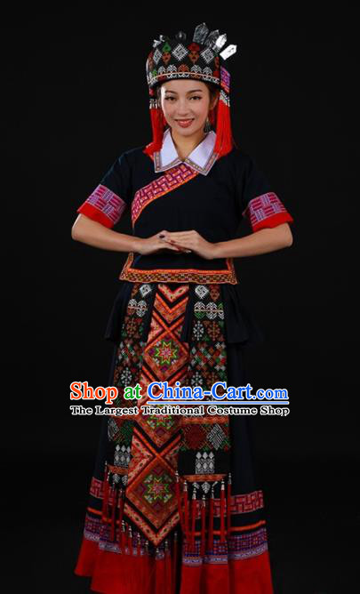 Chinese Traditional Yao Nationality Black Long Dress Ethnic Minority Folk Dance Stage Show Costume for Women