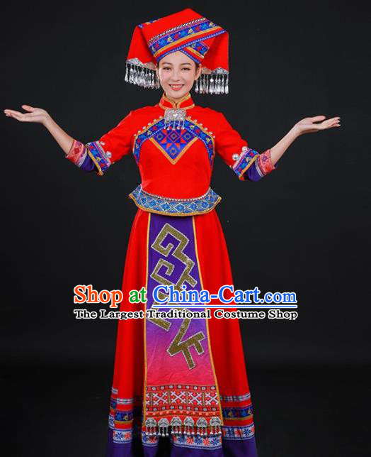 Chinese Traditional Zhuang Nationality Stage Show Red Long Dress Ethnic Minority Folk Dance Costume for Women