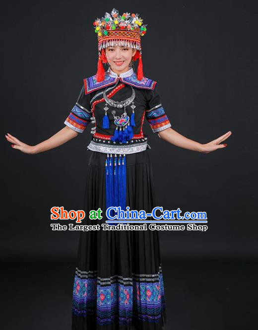 Chinese Traditional Yao Nationality Stage Show Black Long Dress Ethnic Minority Folk Dance Costume for Women