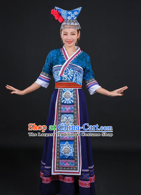 Chinese Traditional Dong Nationality Stage Show Navy Long Dress Ethnic Minority Folk Dance Costume for Women