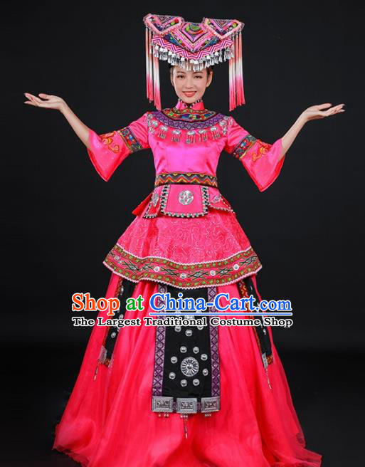 Chinese Traditional Zhuang Nationality Stage Show Embroidered Rosy Dress Ethnic Minority Folk Dance Costume for Women