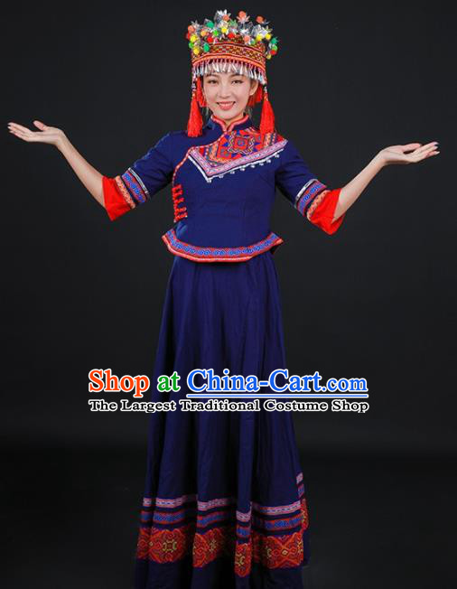 Chinese Traditional Miao Nationality Stage Show Navy Dress Ethnic Minority Folk Dance Costume for Women