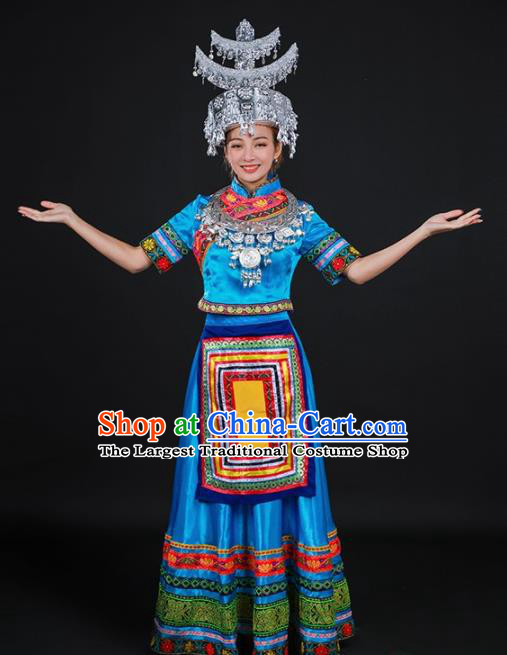 Chinese Traditional Shui Nationality Stage Show Blue Dress Ethnic Minority Folk Dance Costume for Women