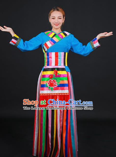 Chinese Traditional Moinba Nationality Stage Show Dress Ethnic Minority Folk Dance Costume for Women