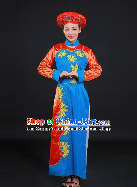 Chinese Traditional Jing Nationality Stage Show Embroidered Blue Dress Ethnic Minority Folk Dance Costume for Women
