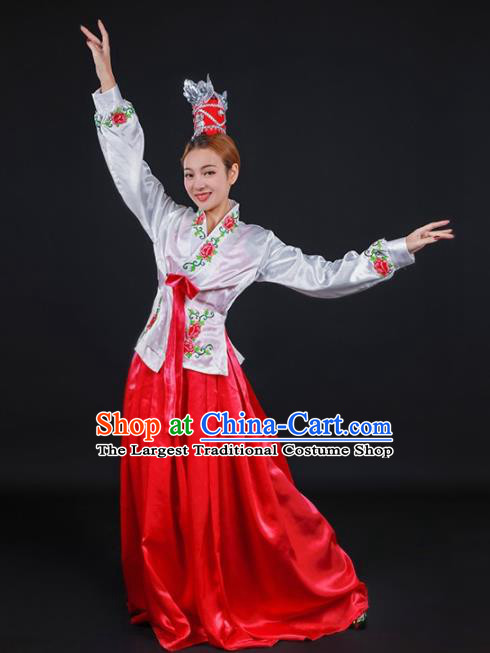 Chinese Traditional Korean Nationality Stage Show Dress Ethnic Minority Folk Dance Costume for Women