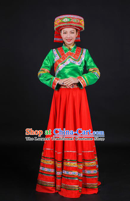 Chinese Traditional Lisu Nationality Stage Show Red Dress Ethnic Minority Folk Dance Costume for Women