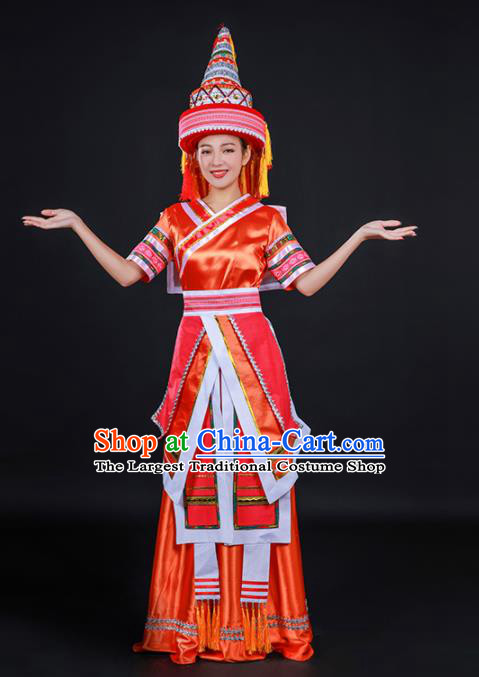 Chinese Traditional Yao Nationality Stage Show Orange Dress Ethnic Minority Folk Dance Costume for Women