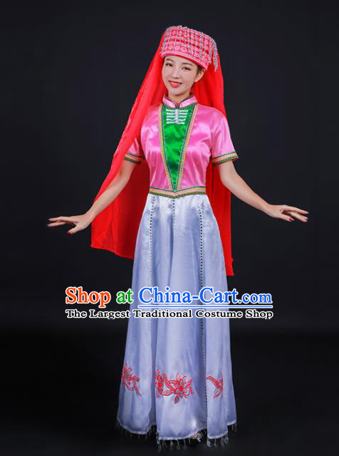 Chinese Traditional Dongxiang Nationality Stage Show Dress Ethnic Minority Folk Dance Costume for Women