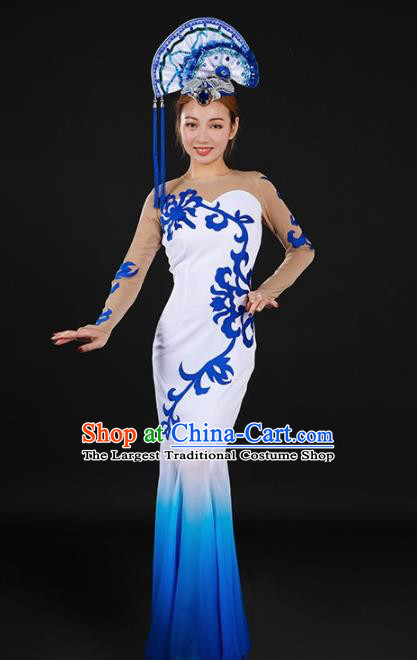 Chinese Spring Festival Gala Classical Dance Blue Fishtail Dress Traditional Chorus Costume for Women