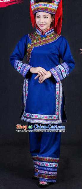 Chinese Traditional Lhoba Nationality Stage Show Royalblue Dress Ethnic Minority Folk Dance Costume for Women