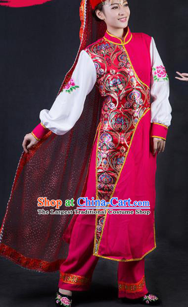 Chinese Traditional Bonan Nationality Stage Show Rosy Dress Ethnic Minority Folk Dance Costume for Women
