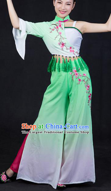 Chinese Spring Festival Gala Folk Dance Green Outfits Traditional Fan Dance Costume for Women