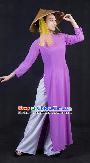 Chinese Traditional Jing Nationality Stage Show Purple Dress Ethnic Minority Folk Dance Costume for Women