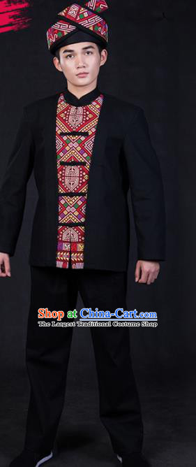 Chinese Traditional Miao Nationality Festival Compere Black Outfits Ethnic Minority Folk Dance Stage Show Costume for Men