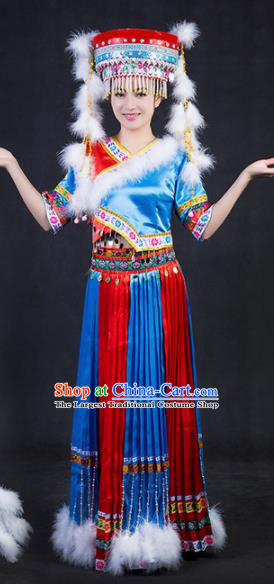 Chinese Traditional Tajik Nationality Stage Show Blue Dress Ethnic Minority Folk Dance Costume for Women